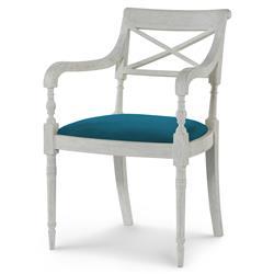 Mr. Brown Armathwaite French White Oak Arm Chair - Prussian Teal Velvet
