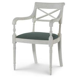 Mr. Brown Armathwaite French White Oak Arm Chair - Silver Sage Green Velvet