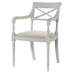 Mr. Brown Armathwaite French White Oak Arm Chair - Snow White Velvet