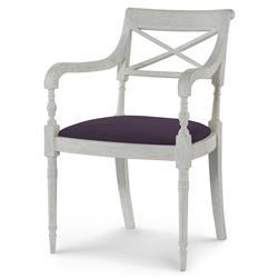 Mr. Brown Armathwaite French White Oak Arm Chair - Purple Thistle Velvet