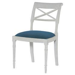 Mr. Brown Armathwaite French White Oak Side Chair - Prussian Teal Velvet
