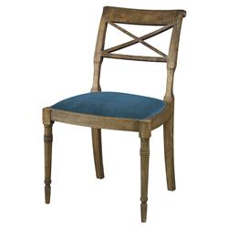 Mr. Brown Armathwaite French Rustic Oak Side Chair - Prussian Teal Velvet