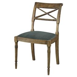 Mr. Brown Armathwaite French Rustic Oak Side Chair - Silver Sage Velvet