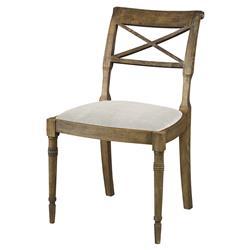Mr. Brown Armathwaite French Rustic Oak Side Chair - Snow White Velvet