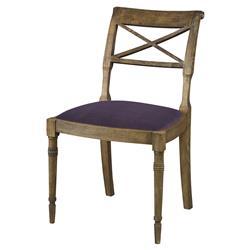 Mr. Brown Armathwaite French Rustic Oak Side Chair - Purple Thistle Velvet