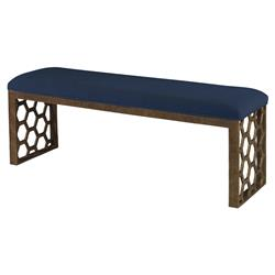 Mr. Brown Angelina Modern Gold Hexagon Bench - Harbor Blue Velvet