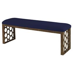 Mr. Brown Angelina Modern Gold Hexagon Bench - Lapis Blue Velvet