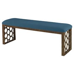 Mr. Brown Angelina Modern Gold Hexagon Bench - Prussian Teal Velvet