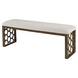 Mr. Brown Angelina Modern Gold Hexagon Bench - Snow Ivory Velvet