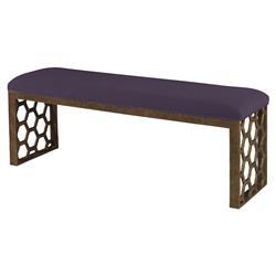 Mr. Brown Angelina Modern Gold Hexagon Bench - Purple Thistle Velvet