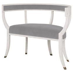 Mr. Brown Bacchanalia Regency White Oak Grey Velvet Demilune Settee
