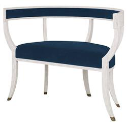 Mr. Brown Bacchanalia Regency White Oak Harbor Blue Velvet Demilune Settee