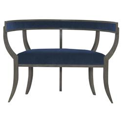 Mr. Brown Bacchanalia Regency Ash Oak Harbor Blue Velvet Demilune Settee