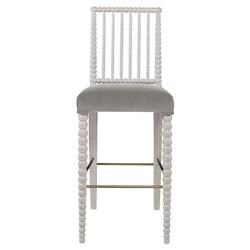 Mr. Brown Beatrix Modern White Bead Grey Velvet Barstool