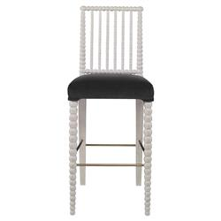 Mr. Brown Beatrix Modern White Bead Barstool - Dark Grey Velvet