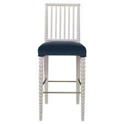 Mr. Brown Beatrix Modern White Bead Barstool - Harbor Blue Velvet