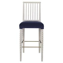 Mr. Brown Beatrix Modern White Bead Lapiz Blue Velvet Barstool