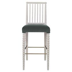 Mr. Brown Beatrix Modern White Bead Sage Velvet Barstool