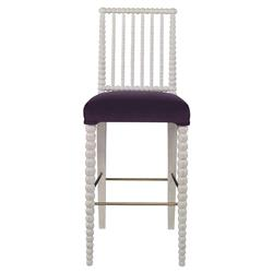 Mr. Brown Beatrix Modern White Bead Purple Velvet Barstool