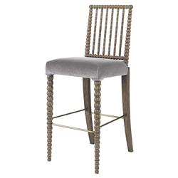 Mr. Brown Beatrix Modern Oak Bead Grey Velvet Barstool