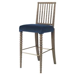 Mr. Brown Beatrix Modern Oak Harbor Blue Velvet Bead Barstool