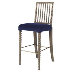 Mr. Brown Beatrix Modern Oak Bead Lapiz Blue Velvet Barstool