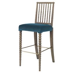 Mr. Brown Beatrix Modern Oak Bead Prussian Velvet Barstool