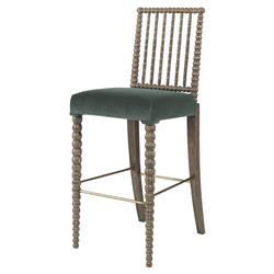 Mr. Brown Beatrix Modern Oak Bead Sage Velvet Barstool