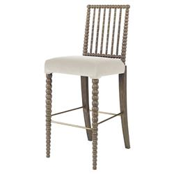 Mr. Brown Beatrix Modern Oak Bead White Velvet Barstool
