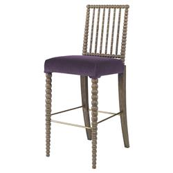 Mr. Brown Beatrix Modern Oak Bead Purple Velvet Barstool