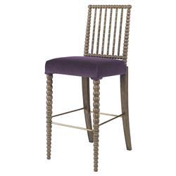 Mr. Brown Beatrix Modern Oak Bead Barstool - Thistle Purple Velvet