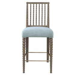 Mr. Brown Beatrix Modern Oak Bead Counter Stool - Glacier Blue Linen