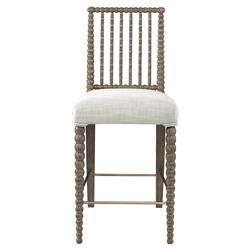 Mr. Brown Beatrix Modern Oak Bead White Linen Counter Stool