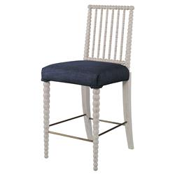 Mr. Brown Beatrix Modern White Bead Navy Blue Linen Counter Stool