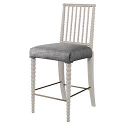 Mr. Brown Beatrix Modern White Bead Counter Stool - Grey Putty Linen