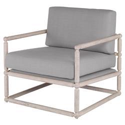 Mr. Brown Dunstans Modern White Oak Arm Chair - Cannon Grey Velvet