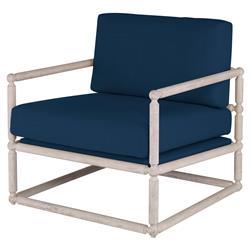 Mr. Brown Dunstans Modern White Oak Arm Chair - Harbor Blue Velvet