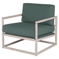Mr. Brown Dunstans Modern White Oak Arm Chair - Silver Sage Velvet