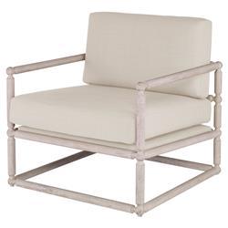 Mr. Brown Dunstans Modern White Oak Arm Chair - Snow Velvet