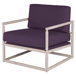 Mr. Brown Dunstans Modern White Oak Arm Chair - Purple Thistle Velvet