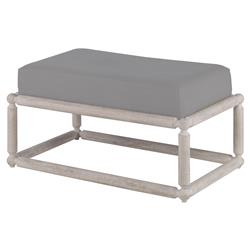 Mr. Brown Dunstans Modern White Oak Ottoman - Cannon Grey Velvet