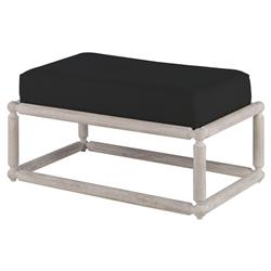 Mr. Brown Dunstans Modern White Oak Ottoman - Dark Grey Velvet