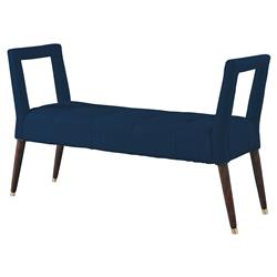 Mr. Brown Eliza Modern Harbor Blue Velvet Window Bench