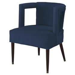 Mr. Brown Eliza Modern Window Harbor Blue Velvet Arm Chair