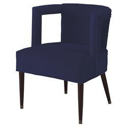 Mr. Brown Eliza Modern Lapis Blue Velvet Window Arm Chair