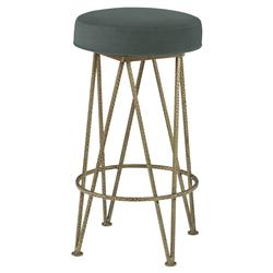 Mr. Brown Lorca Modern Gold Hairpin Counter Stool - Silver Sage Velvet