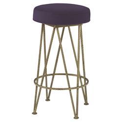 Mr. Brown Lorca Gold Hairpin Counter Stool - Purple Thistle Velvet