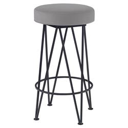 Mr. Brown Lorca Modern Black Hairpin Counter Stool - Cannon Grey Velvet
