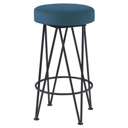 Mr. Brown Lorca Modern Black Hairpin Counter Stool - Prussian Teal Velvet