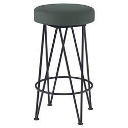Mr. Brown Lorca Modern Black Hairpin Counter Stool - Silver Sage Velvet